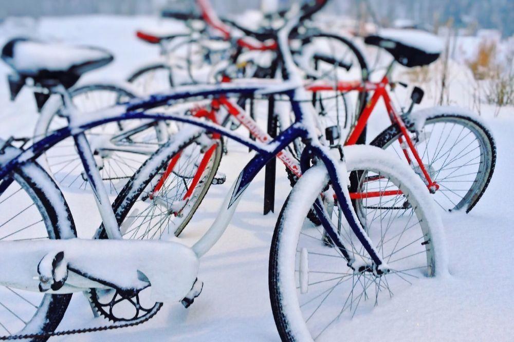 Winters fietswee